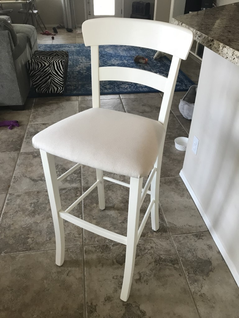 Thrift store bar stool painted with Waverly Chalk paint, seat recovered with drop cloth fabric.