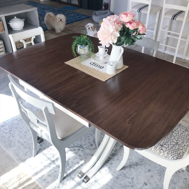 This dining room table makeover is one of my favorites. It has held up beautifully after 3 years of constant use. I love that it has a history, with stories to tell.