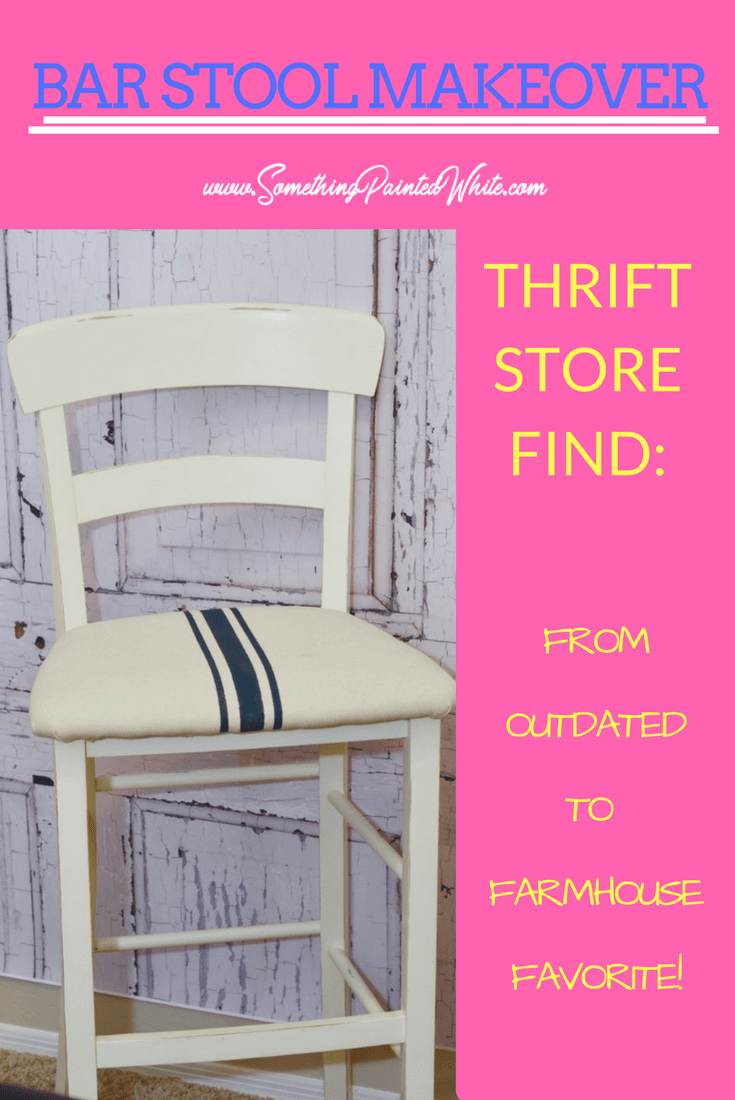 Thrift Store Bar Stools Makeover from Outdated to Farmhouse with Farmhouse Stripes