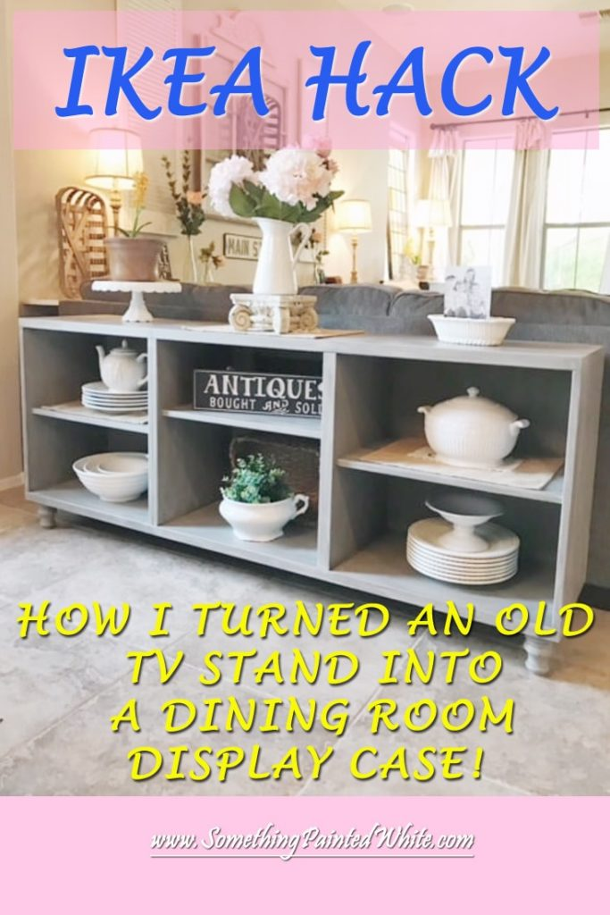 IKEA Hack -Besta TV Stand painted with Annie Sloan Chalk Paint in French Linen and layered with Old White then topped with Annie Sloan clear wax and Valspar Antiquing Glaze. Dining Room Display case makeover.