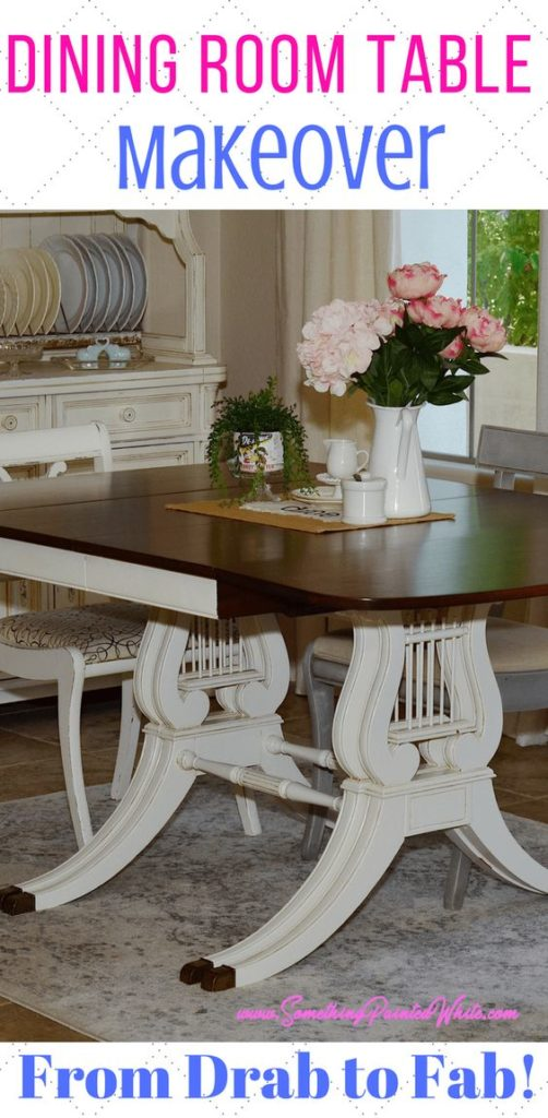 How I transformed a thrift store dining room table into a fabulous french country dining room table that we use every day.