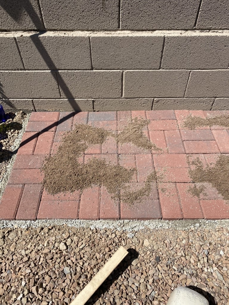 Sand sprinkled on top of bricks in preparation for filling the cracks in the potting bench pad.