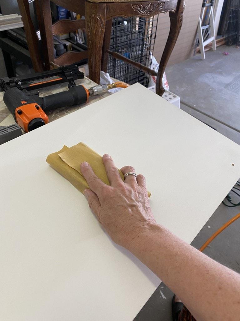 sanding the door front