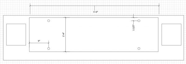 Top view layout for industrial media console design.