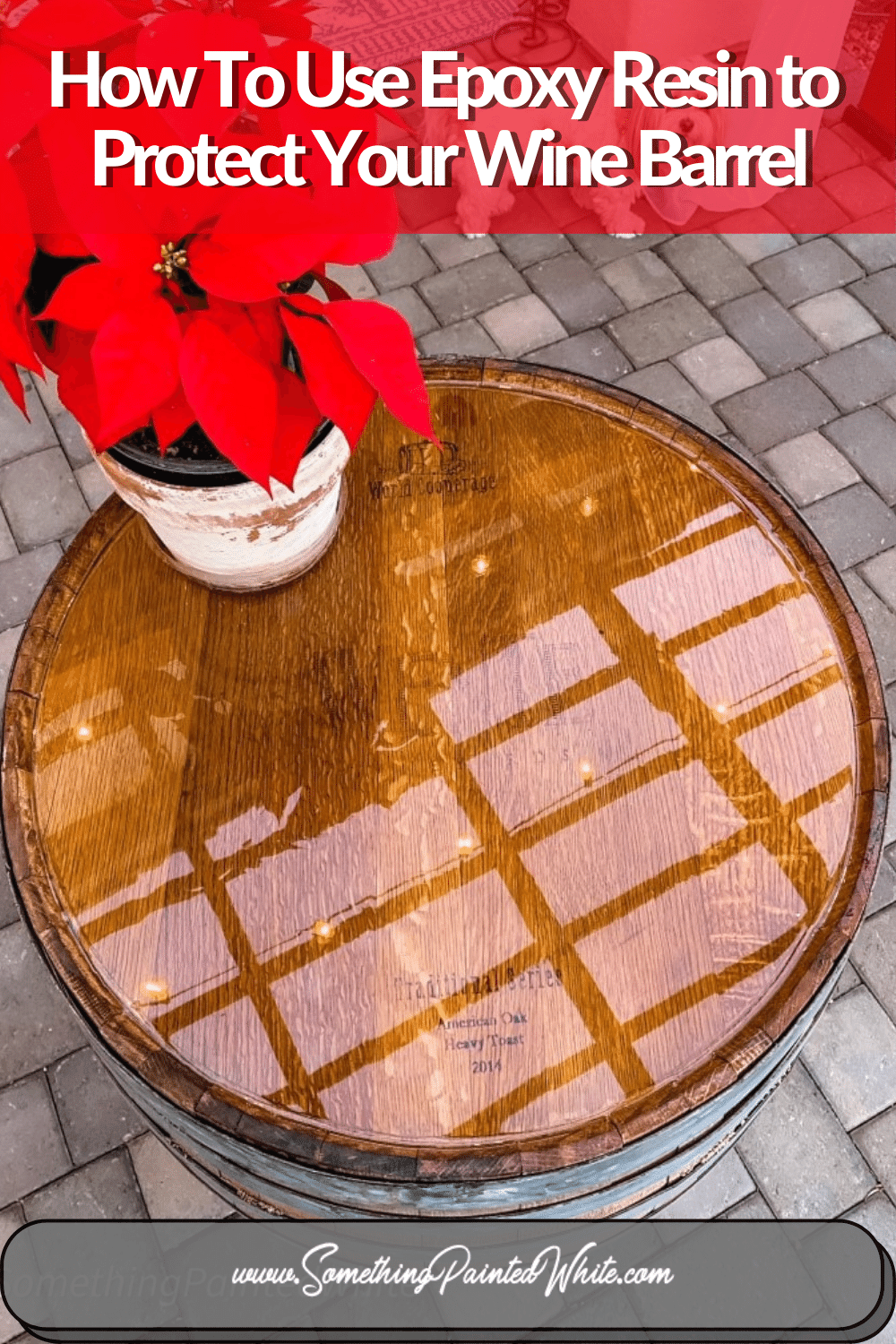 Photo showing wine barrel after using Epoxy Resin to protect the top of it.