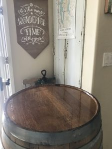 pour the epoxy resin onto the wine barrel top