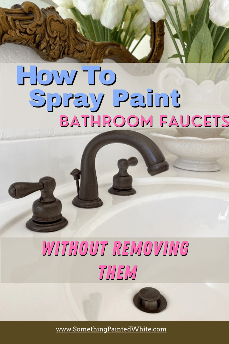 Pinterest Pin showing finished spray painted faucet