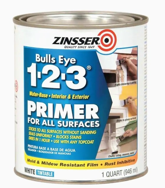 Can of Zinsser 123 Primer that I used to prime my faux brick walls