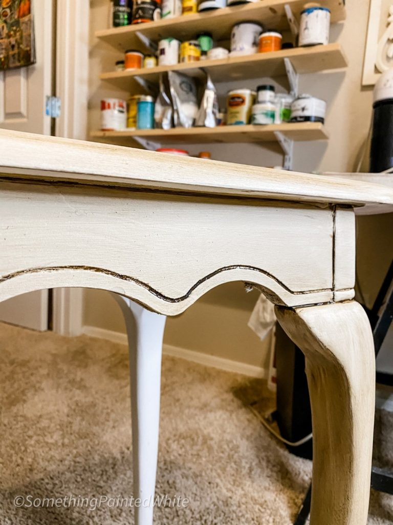 simple table makeover, showing glaze in details
