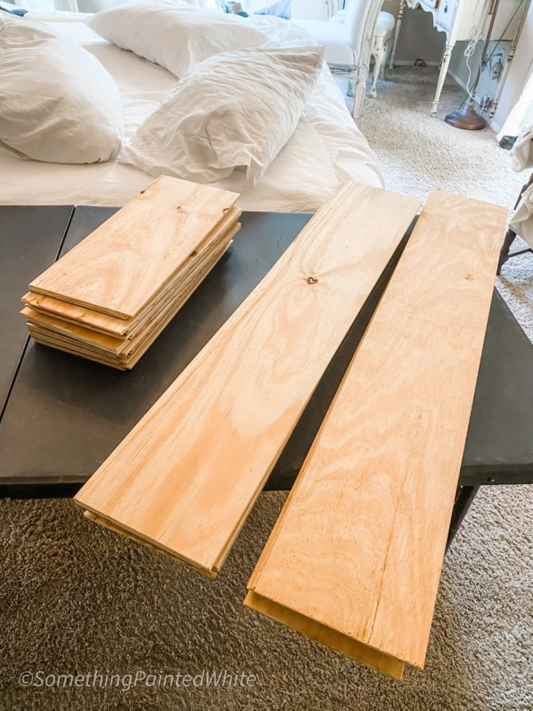 The boards are all trimmed and cut to the proper lengths in preparation for putting them on the wall.
