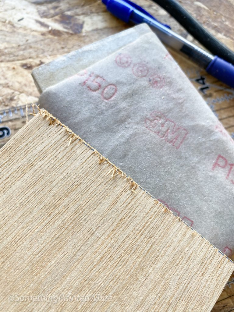 After using the miter saw to make the cuts i sanded the edges to remove the splinters.
