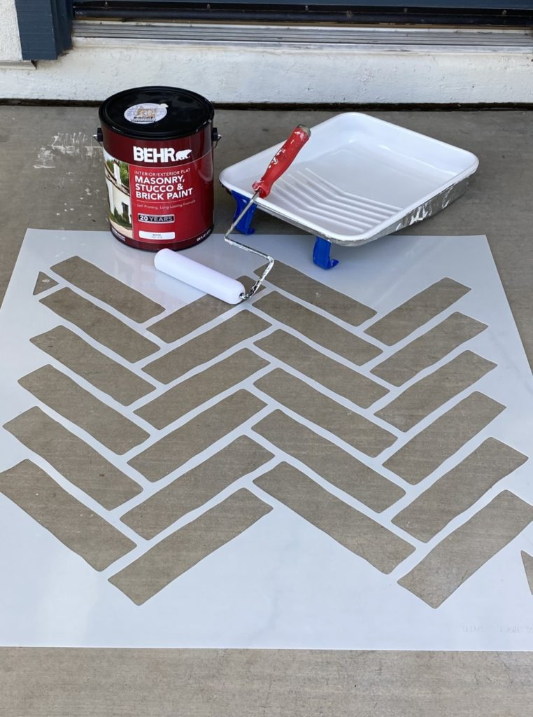 Supplies include herringbone brick stecil, masonry,brick, and stucco paint, foam roller and roller pan.