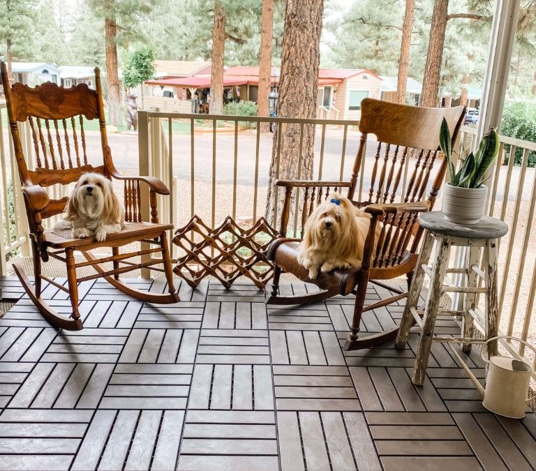 A Great New Look for an Outdated Old Deck with 12″ Deck Tiles from Aster Outdoor