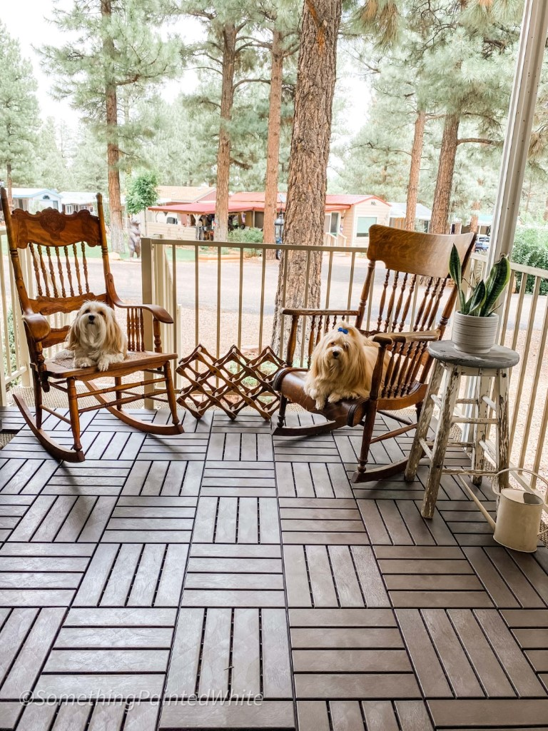 The dogs are enjoying the deck tile lfrom AsterOutdoor laid in a parquet pattern