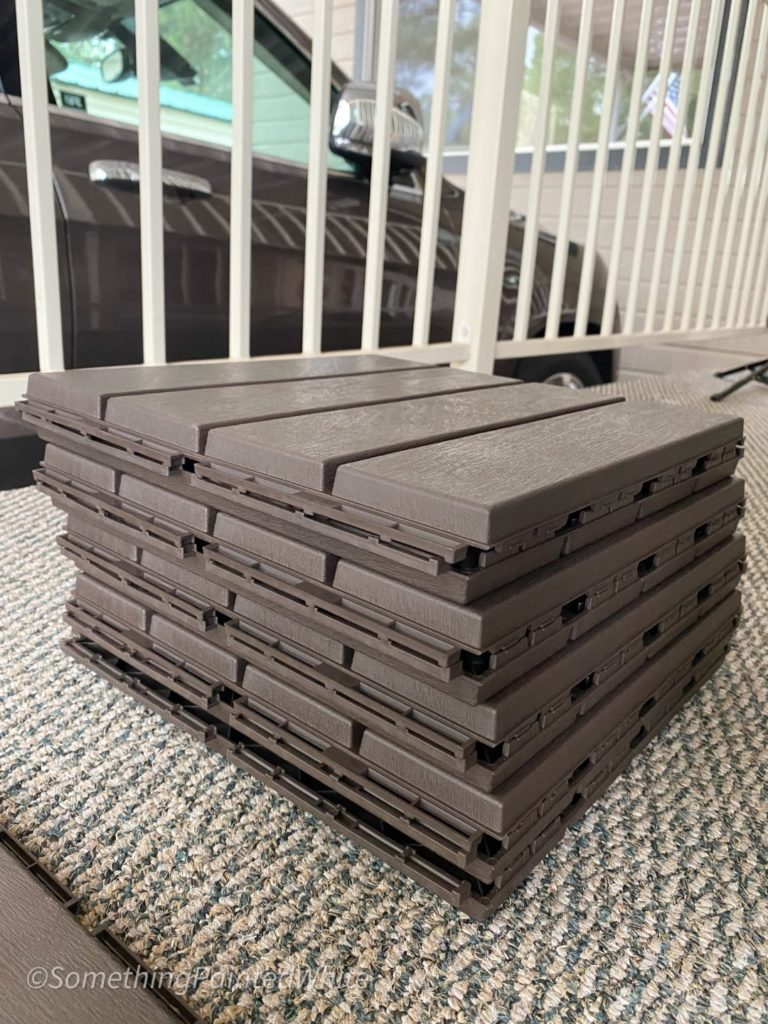 Deck tiles are stacked and ready to be installed.